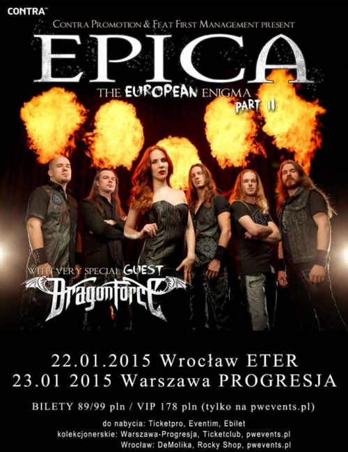Epica + Dragonforce na 2 koncertach w Polsce!